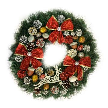 Изображение Новогодний венок - Рождественский венок d-36 см - с красными бантами