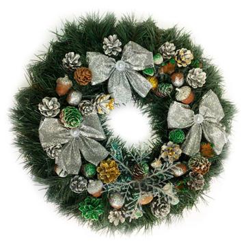 Изображение Новогодний венок - Рождественский венок d-45 см -  с серебряными бантами