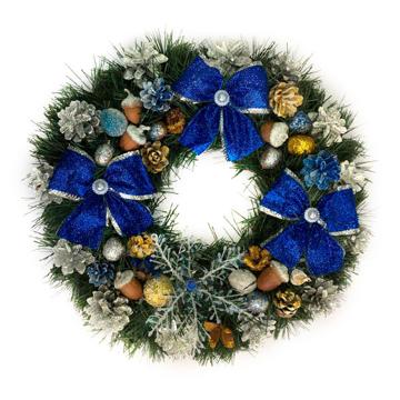 Изображение Новогодний венок - Рождественский венок d-36 см - с синими бантами