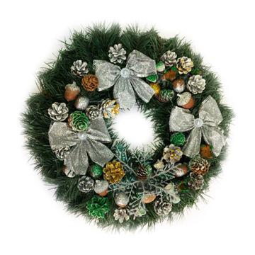 Изображение Новогодний венок - Рождественский венок d-36 см - с серебряными бантами