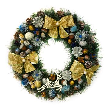 Изображение Новогодний венок - Рождественский венок d-36 см - с золотыми бантами