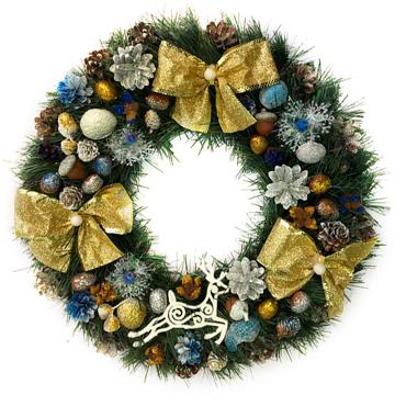Изображение Новогодний венок - Рождественский венок d-45 см - с золотыми бантами
