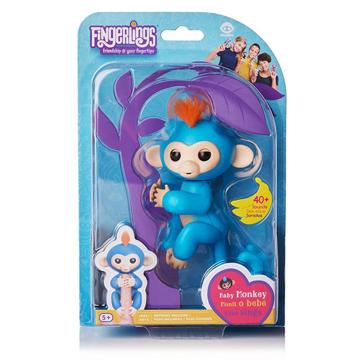 Изображение Интерактивная обезьянка Fingerlings Happy Monkey Голубая